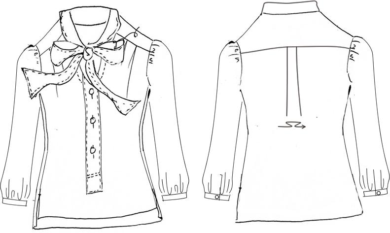 洋裁用型紙 リボンタイプルブラウスパターン 6Saddi