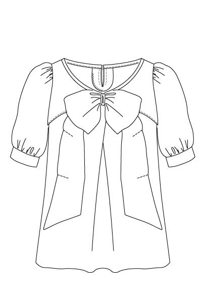 型紙リボンブラウス