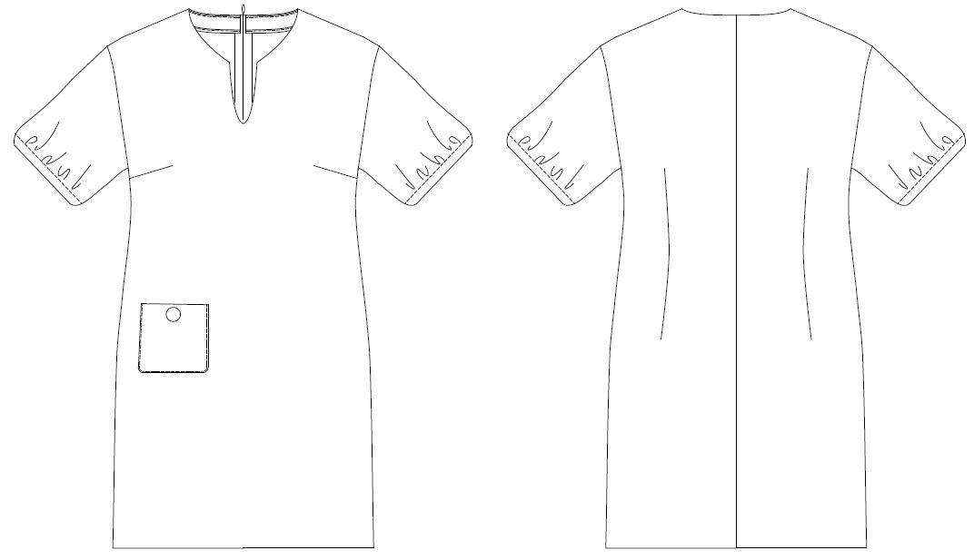 ソーイングパターン 型紙通販 ドロップショルダーシフトドレス 8Alina〜アリーナ